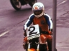 Ron Haslam returning the battered CB900 to the pits, Six Hour 1980